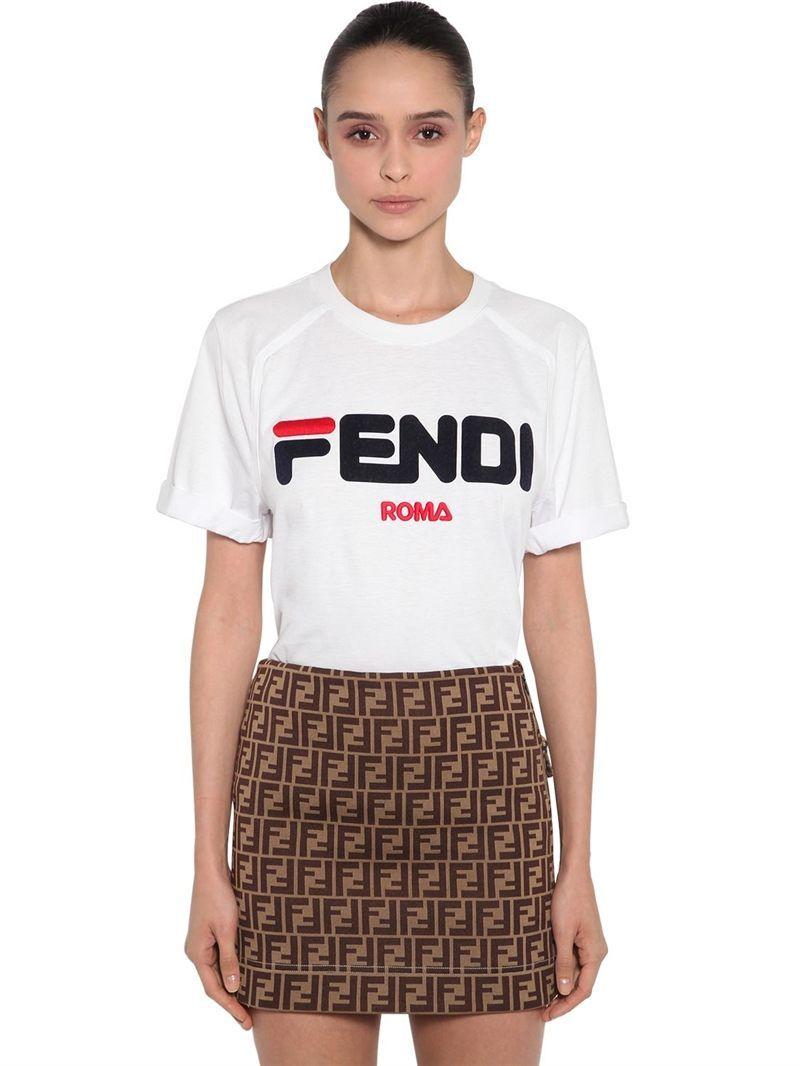 8350a6ebf7 FENDI - FILA LOGO FLOCKED JERSEY T-SHIRT - WHITE