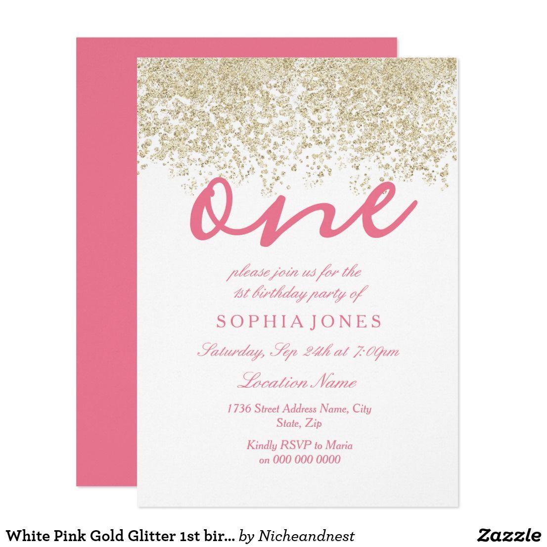 White Pink Gold Glitter 1st birthday party Invite | { Happy Birthday ...