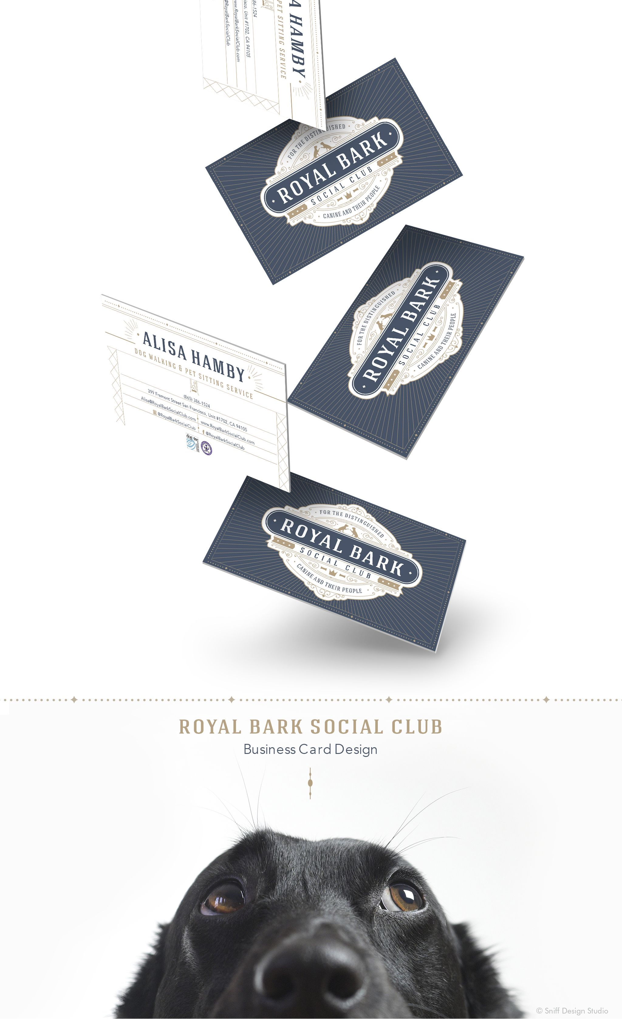 Pet Business Card Design for Royal Bark Social Club I ...