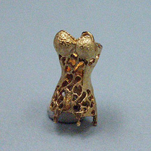 14k Gold Vintage Corset Charm