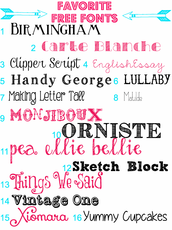 Favorite Free Fonts  ~~  16 Free Fonts with easy download links