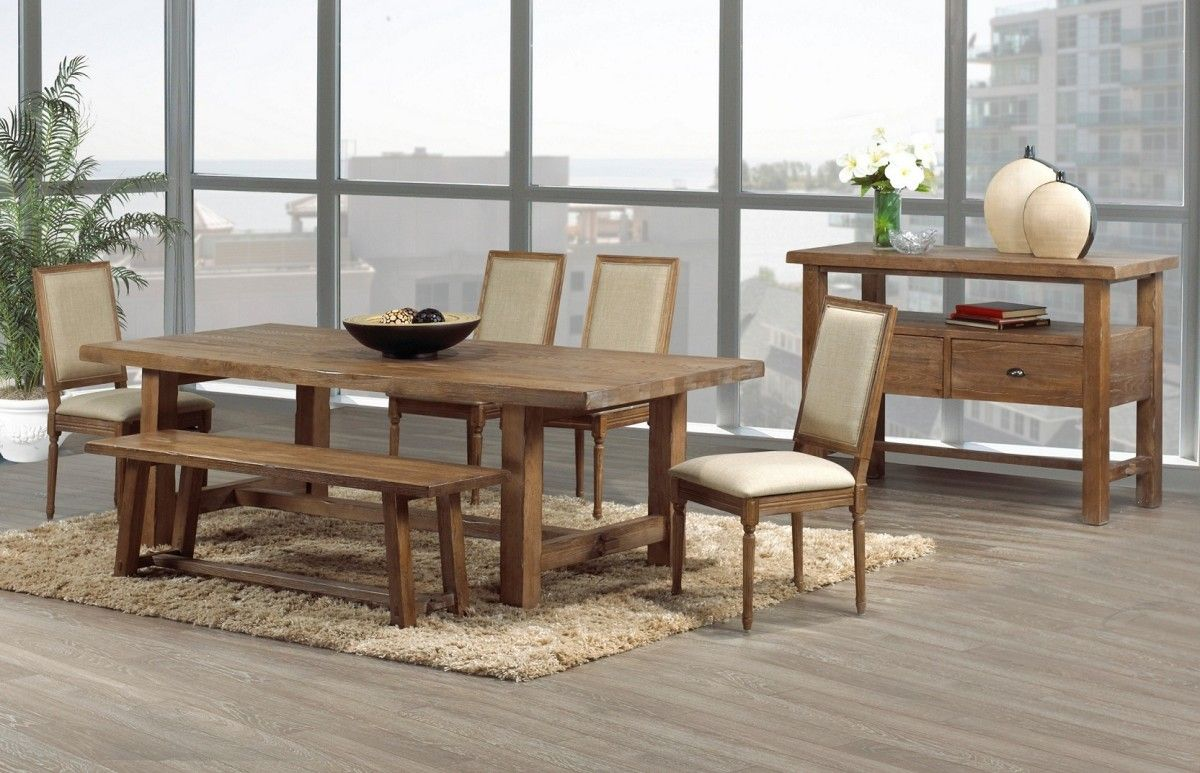 Wooden Dining Table Bench White Wool Area Rug For Room: Kitchen:Wooden Rustic Dining Chairs With White Leather