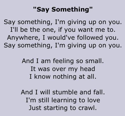 a great big world lyrics - say something