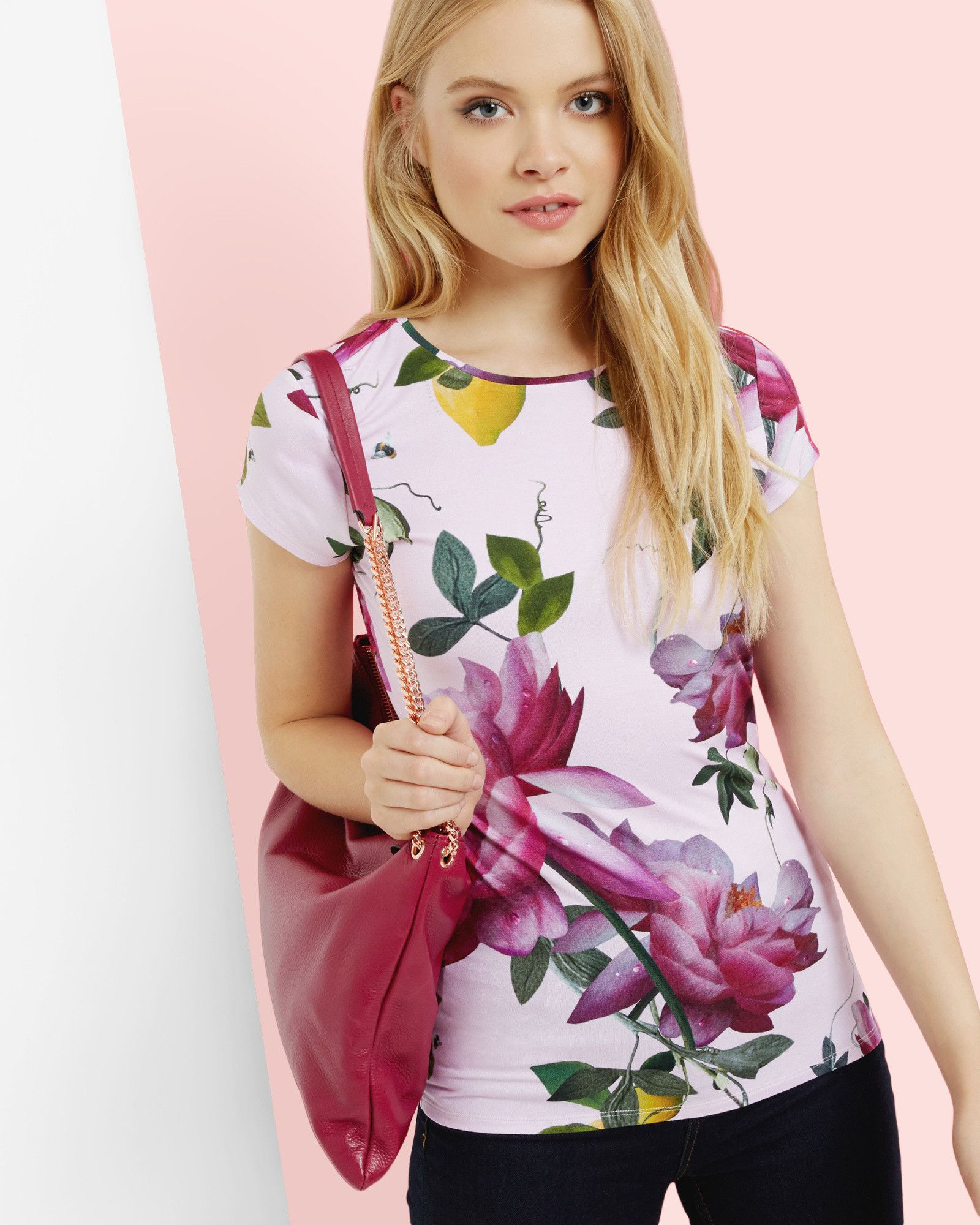 Citrus bloom fitted tshirt pink tops ted baker