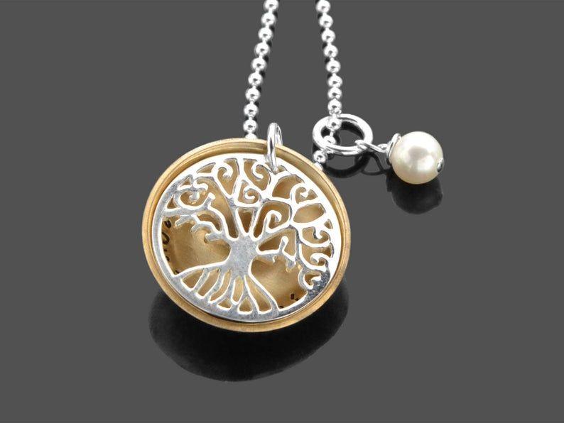 Photo of Namensskizze Lebensbaum Halskette GOLDEN SMALL 925 Silber Halskette mit Gravur Familie Halskette Geschenk personalisiert Frau Halskette mit Namen