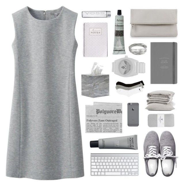 """'Cause you're a force of nature"" by gintare-13 ❤ liked on Polyvore featuring Uniqlo, Whistles, Aesop, Pigeon & Poodle, adidas, NIKE, H&M, American Eagle Outfitters, dress and grey"