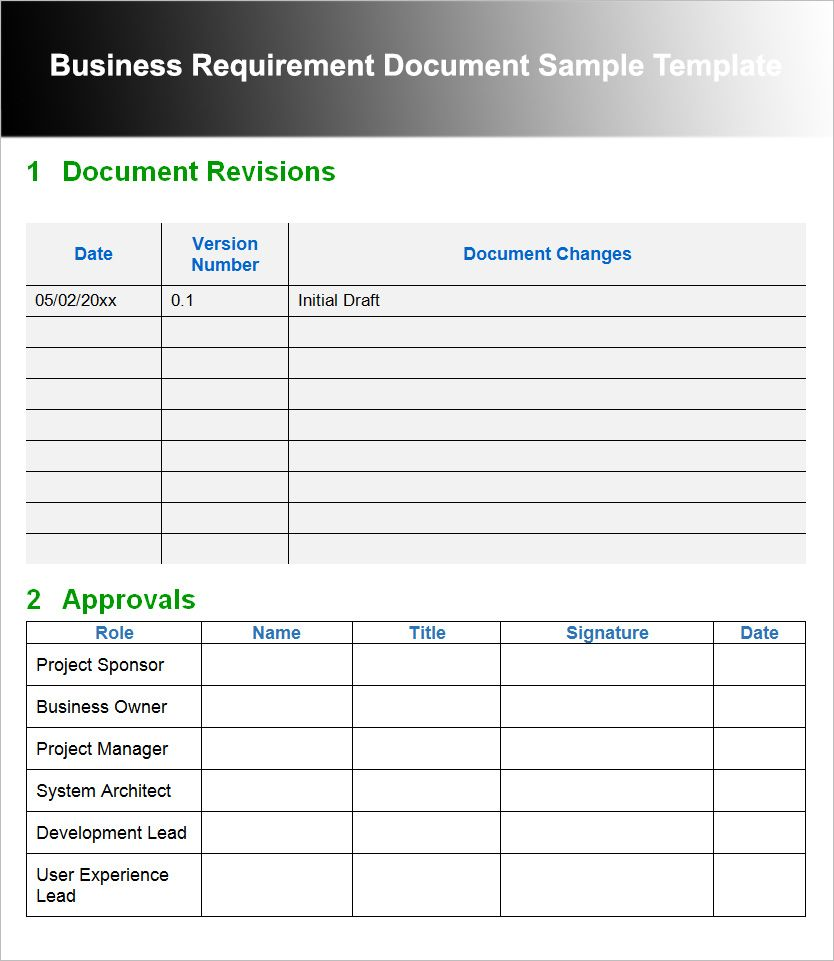 The captivating 11+ Business Requirements Documents Free
