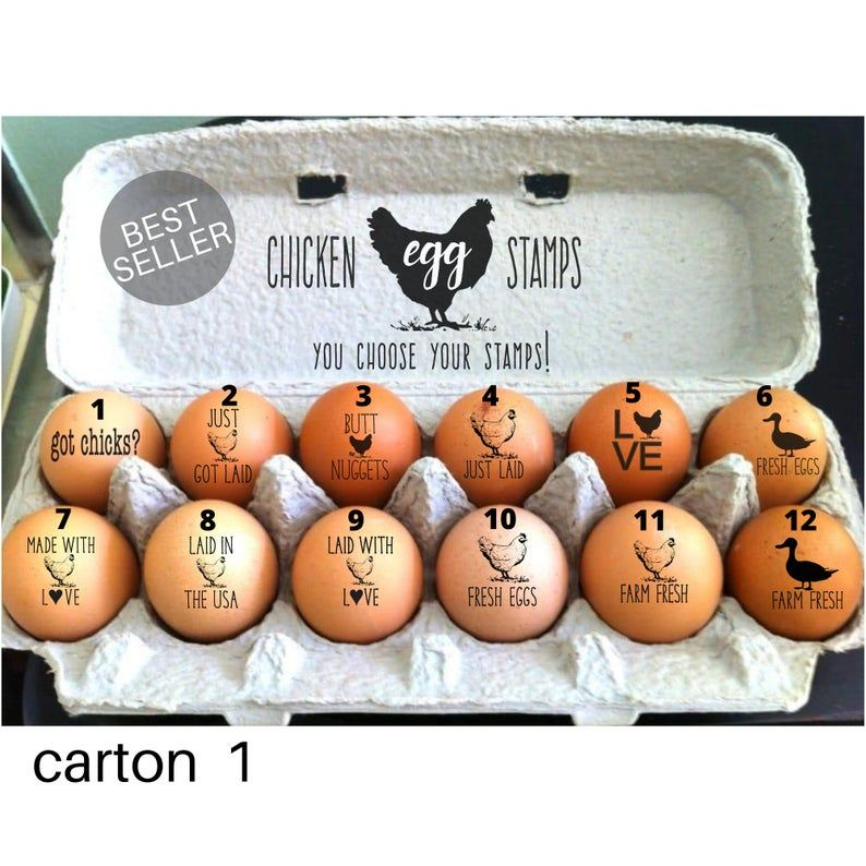 FarmhouseMaven Chicken Coop Chickens Fresh Eggs Chicken Lady Gift Idea Mini Egg Stamp Hen Picked Egg Cartons