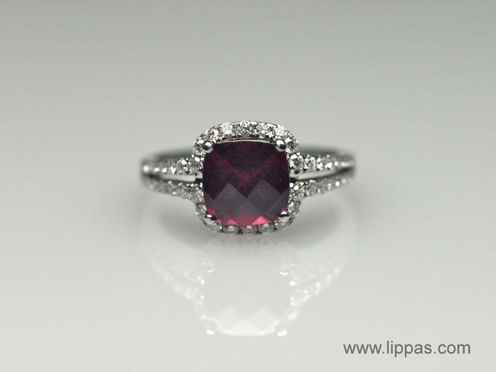 Lippa's Estate and Fine Jewelry - Garnet and Diamond Split Shank Ring, $0.00 (http://lippas.com/garnet-and-diamond-split-shank-ring/)