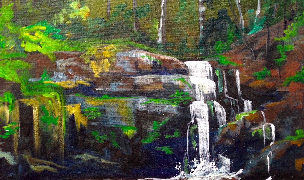 Beginner Wooded Waterfall Landscape Tutorial Acrylic The