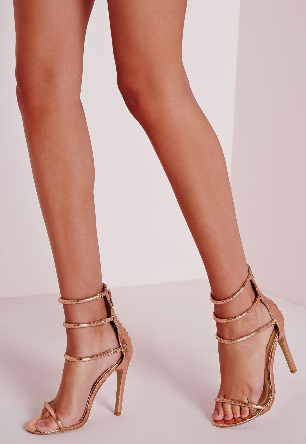 08007eabff27 Missguided - Four Strap Barely There Sandals Rose Gold
