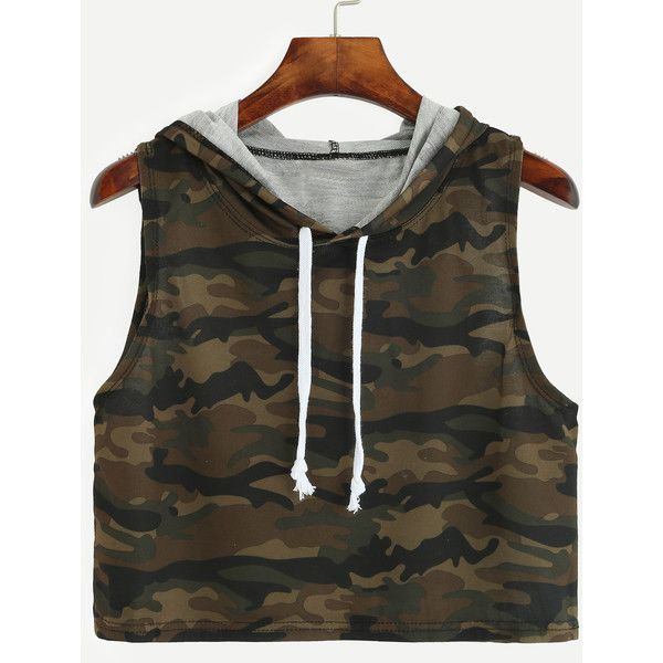 3dc429346619c SheIn(sheinside) Olive Green Camo Print Crop Hooded Top (12 AUD) ❤ liked on Polyvore  featuring tops