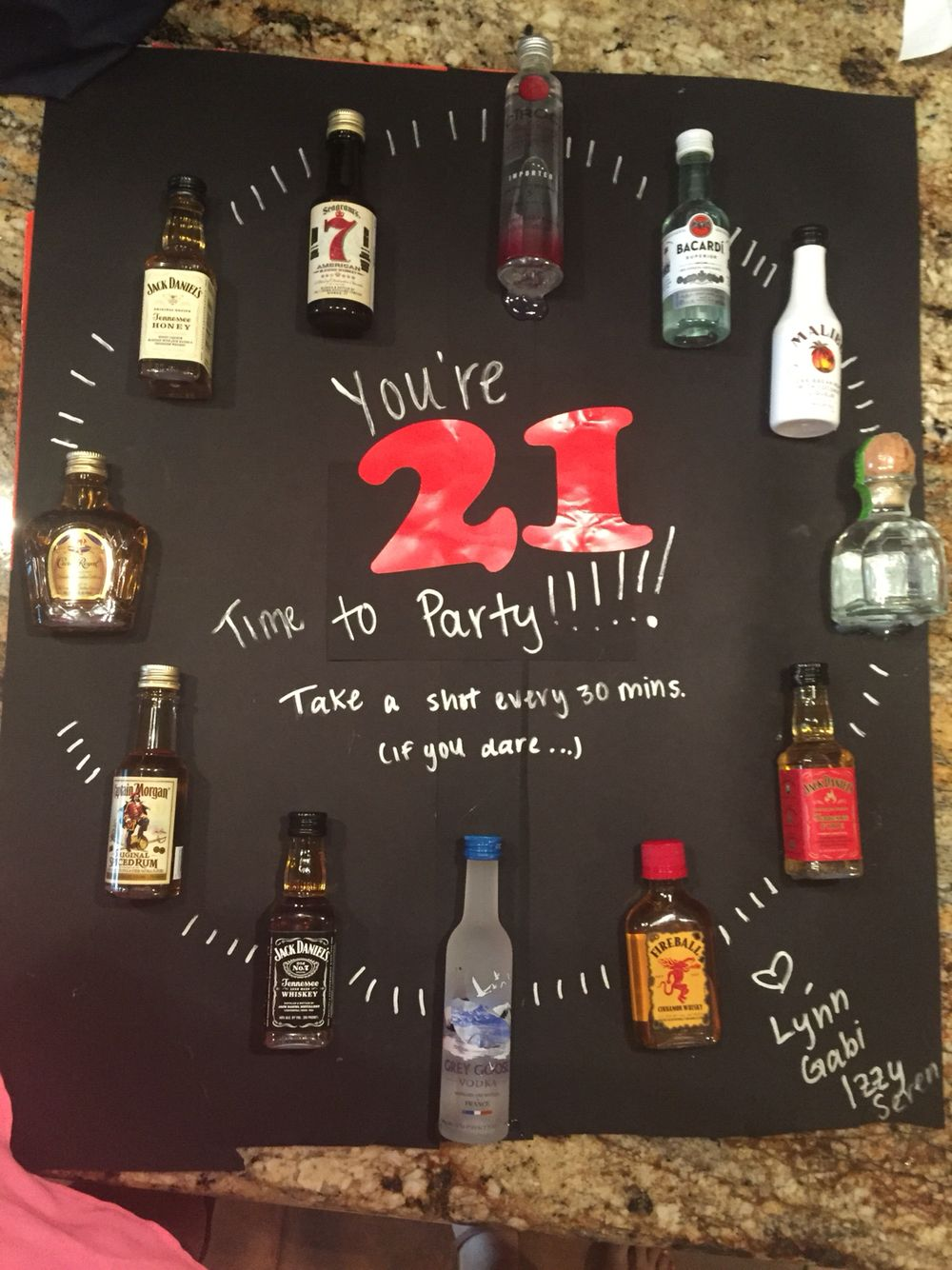 Mini Alcohol Bottle Clock Diy Birthday 21st