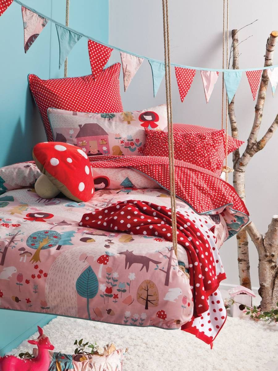 HICCUPS -  Little Red Single Bed Quilt Cover Set  #kidsmanchester #kidsbedlinen #bedlinenonline #manchesterforgirls #bedlinenforgirls #bedlinen  This gorgeous set is perfect for your little fairytale adventurer.The Little Red Riding Hood theme will suit your little one's fascination with story time. Using the imagination is a wonderful thing for your little story-lover's night time adventures and will make her feel like sleep is the most exciting story time of all! x