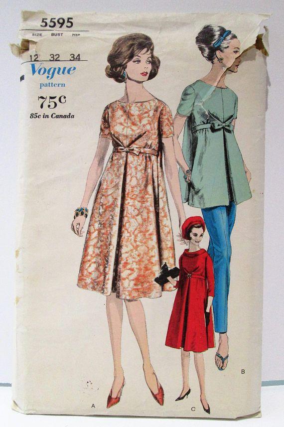 db3e81db3a56a Vintage Vogue 5595 Maternity Dress Blouse & Pants 1960s | dikiş ...