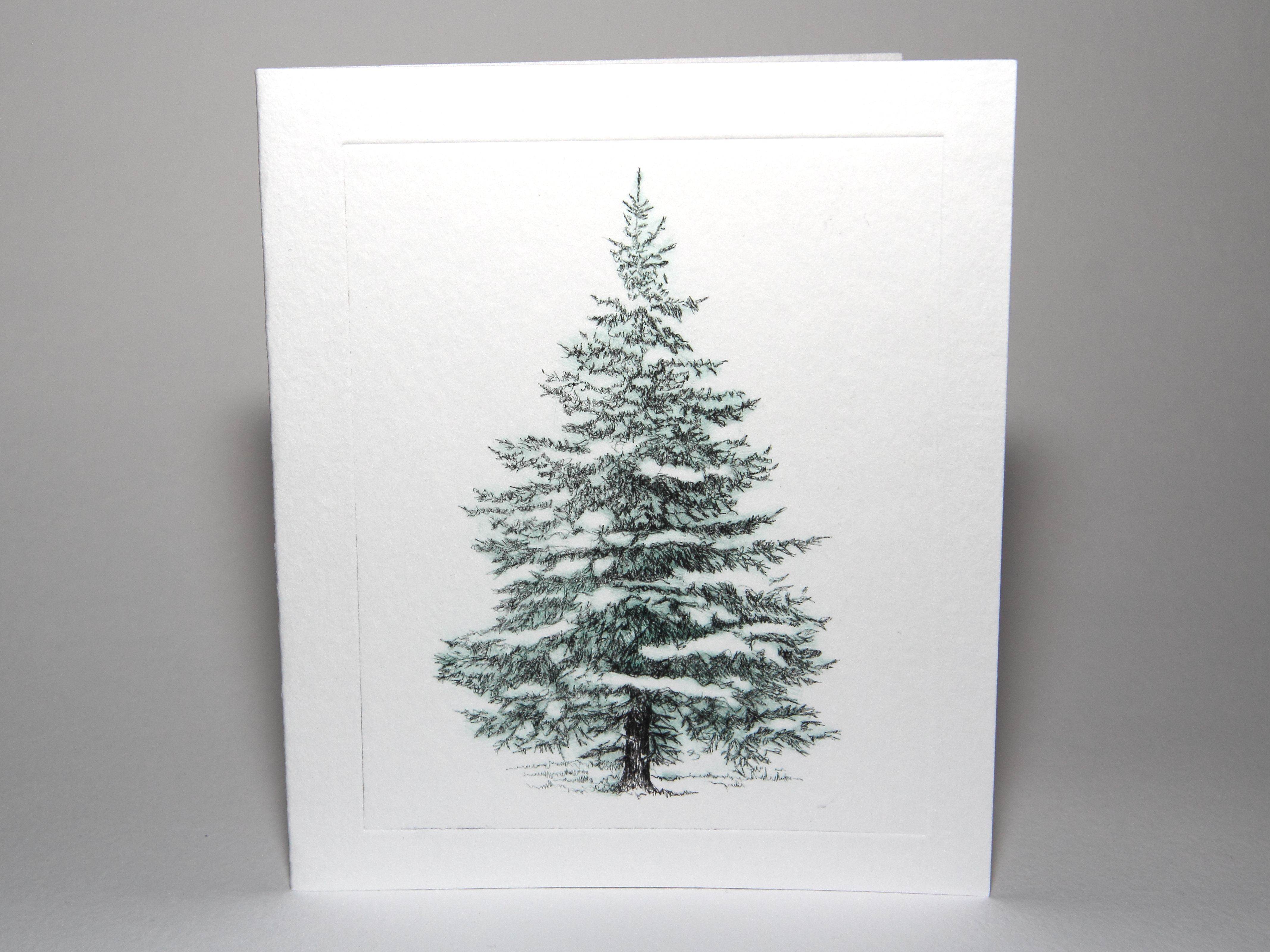 Snow covered tree Christmascard. Drypoint itaglio print ...
