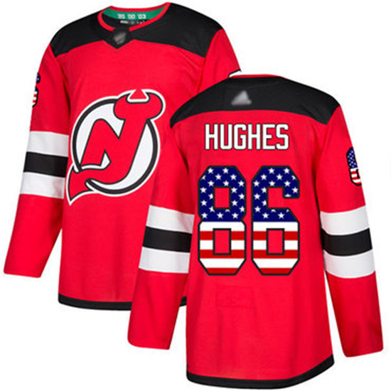 2020 Devils 86 Jack Hughes Red Home Authentic Usa Flag Stitched Hockey Jersey In 2020 Nhl Jerseys Jersey Hockey Jersey