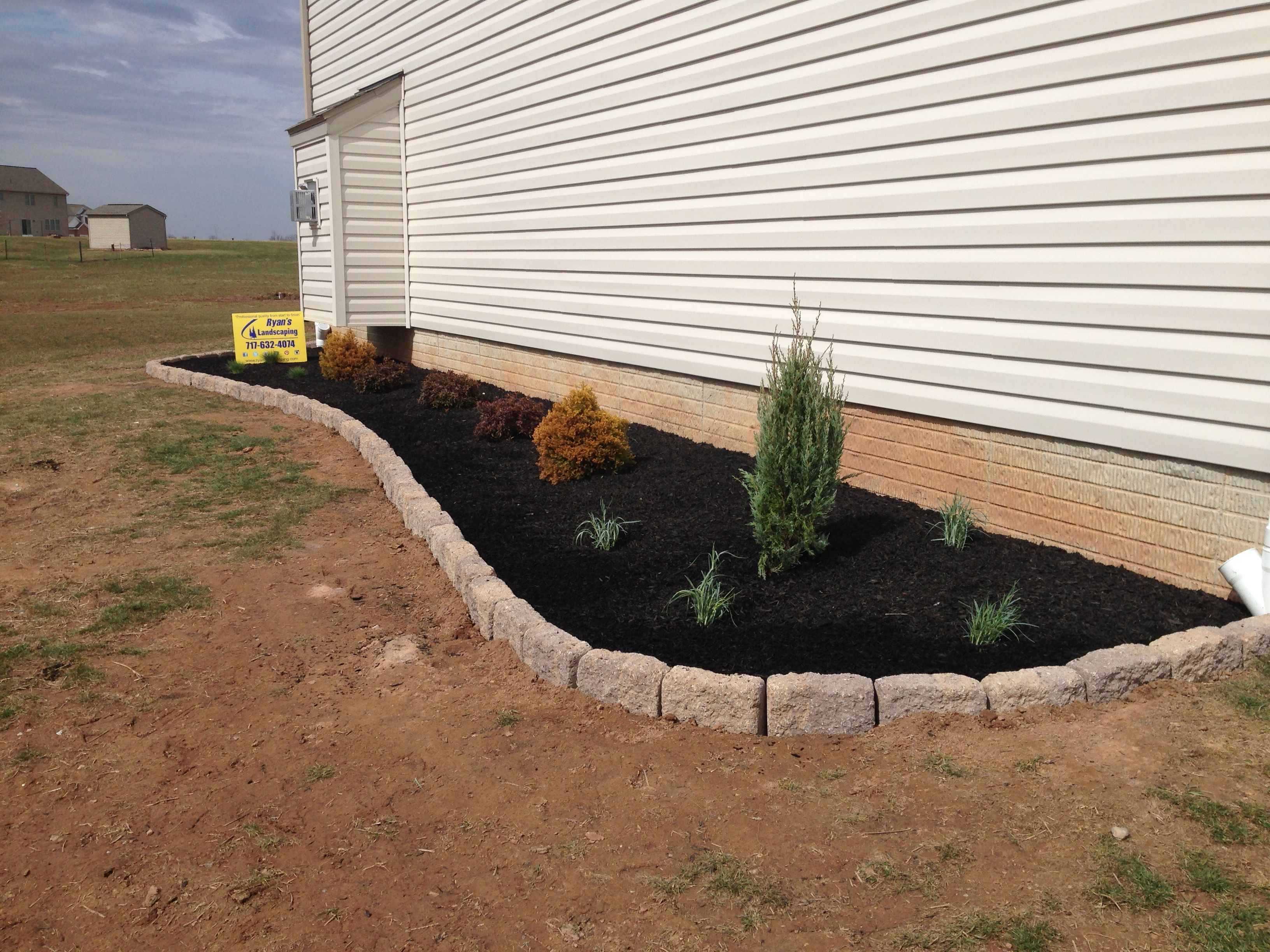 Low Maintenance Landscape Design Installation For Side Areas By Ryan S Landscaping In New Oxford