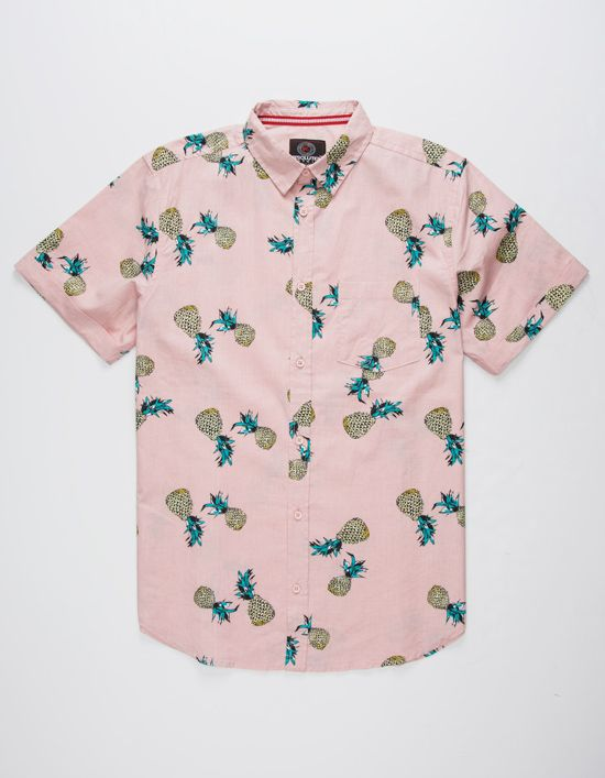 a34ec5186a One Resolution Pineapple woven shirt. Button front. Allover pineapple  print. Patch chest pocket. Short cuffed sleeves. 100% cotton. Machine wash.  Imported.