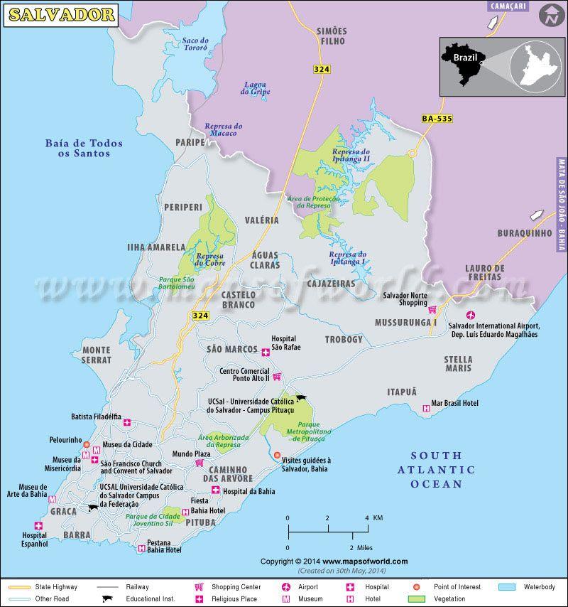 Salvador Map Maps Pinterest Salvador Brazil and Brazil cities