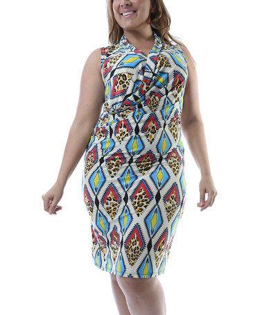 a2f3b610505b87 Cream & Blue Diamond Surplice Dress - Plus #zulily #zulilyfinds ...