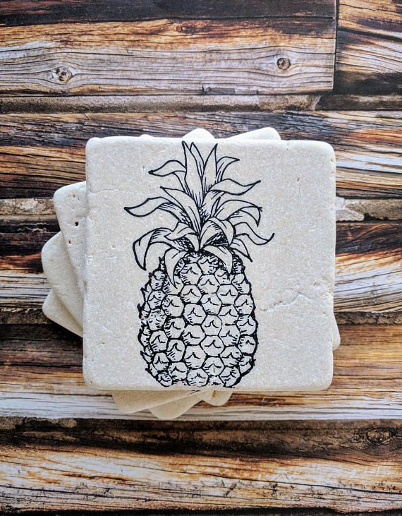 Pineapple Coasters Housewarming Gift Idea Birthday Idea Engagement Gift Pineapple Coaster set