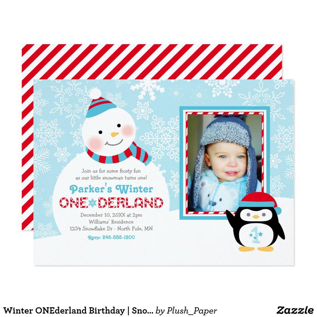 Winter ONEderland Birthday | Snowman and Penguin Card Winter ...