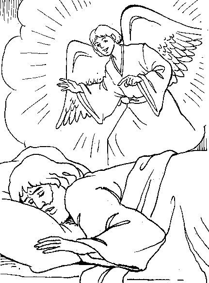 Bible Coloring Pages, Angel Visits Joseph Coloring Page