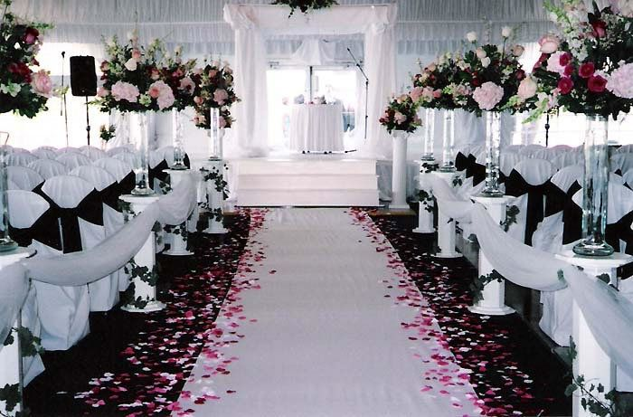 wedding ceremony ideas pink black white wedding ceremony eco friendly rose petals available at wwwflyboynaturalscom