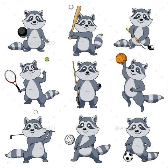 Cartoon Raccoon Play Sports Vector Mascot Icons Mascot Raccoon Rugby Illustration