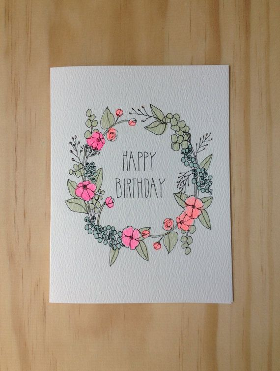 Floral Wreath Birthday Card By HartlandBrooklyn On Etsy 450