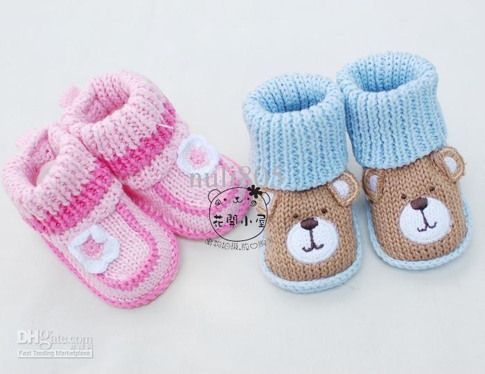 Chaussons bébé Prewalker fille infantile Crochet Newborn Knit Chaussettes Chaussures Crib
