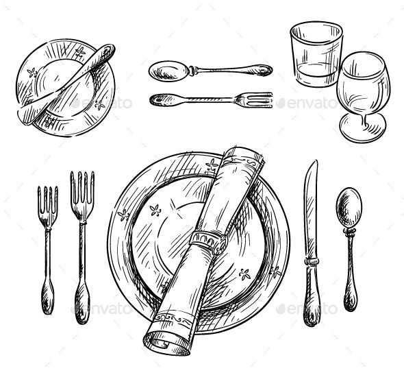 Download Free Graphicriver Table Setting #bowl #cutlery #dining #dinner #dish #  sc 1 st  Pinterest & Table Setting | Pinterest | Stainless table Table settings and Doodles