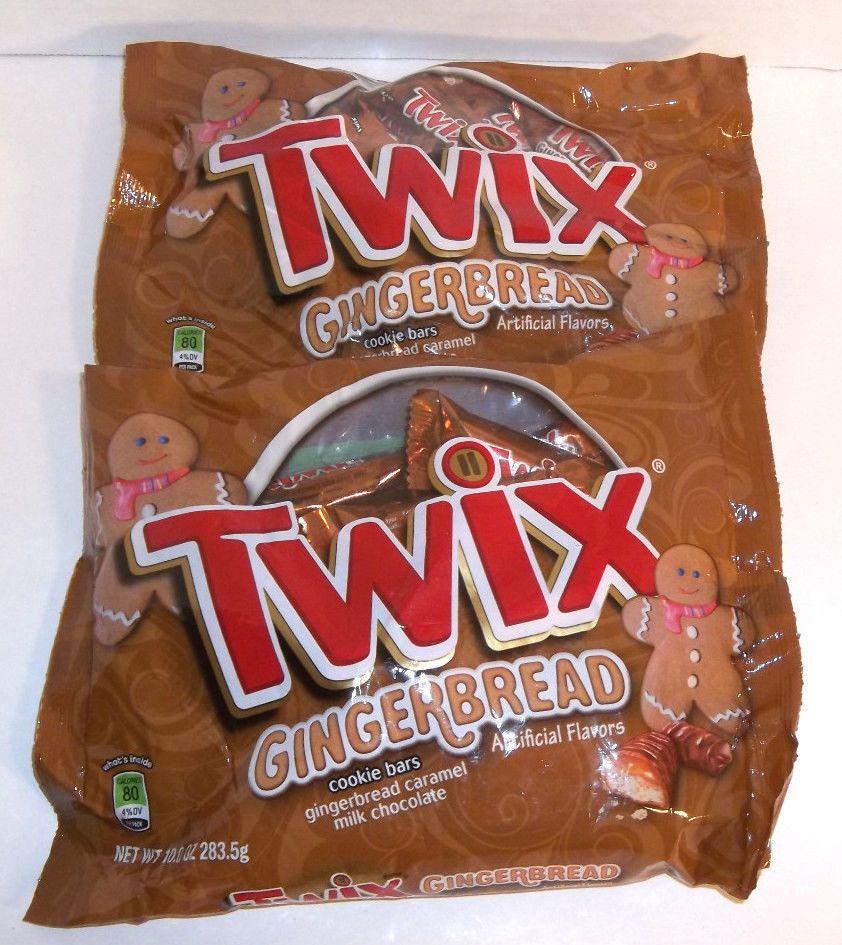 Gingerbread Twix 2 Bag Lot 10oz Each Candy Caramel