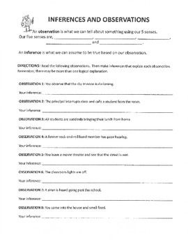 Inferences and Observation Worksheet | Inference, Worksheets ...