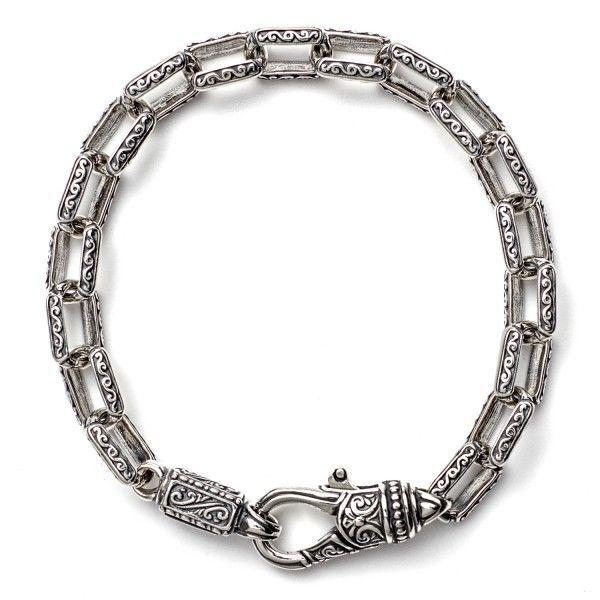 Konstantino Mens Sterling Silver & Turquoise Link Bracelet 5VnSDURtKs