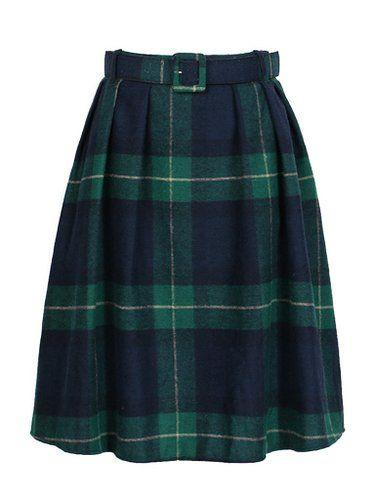 Choies Women's Woolen Green Plaid Belt Waist Casual Pleated Skirt