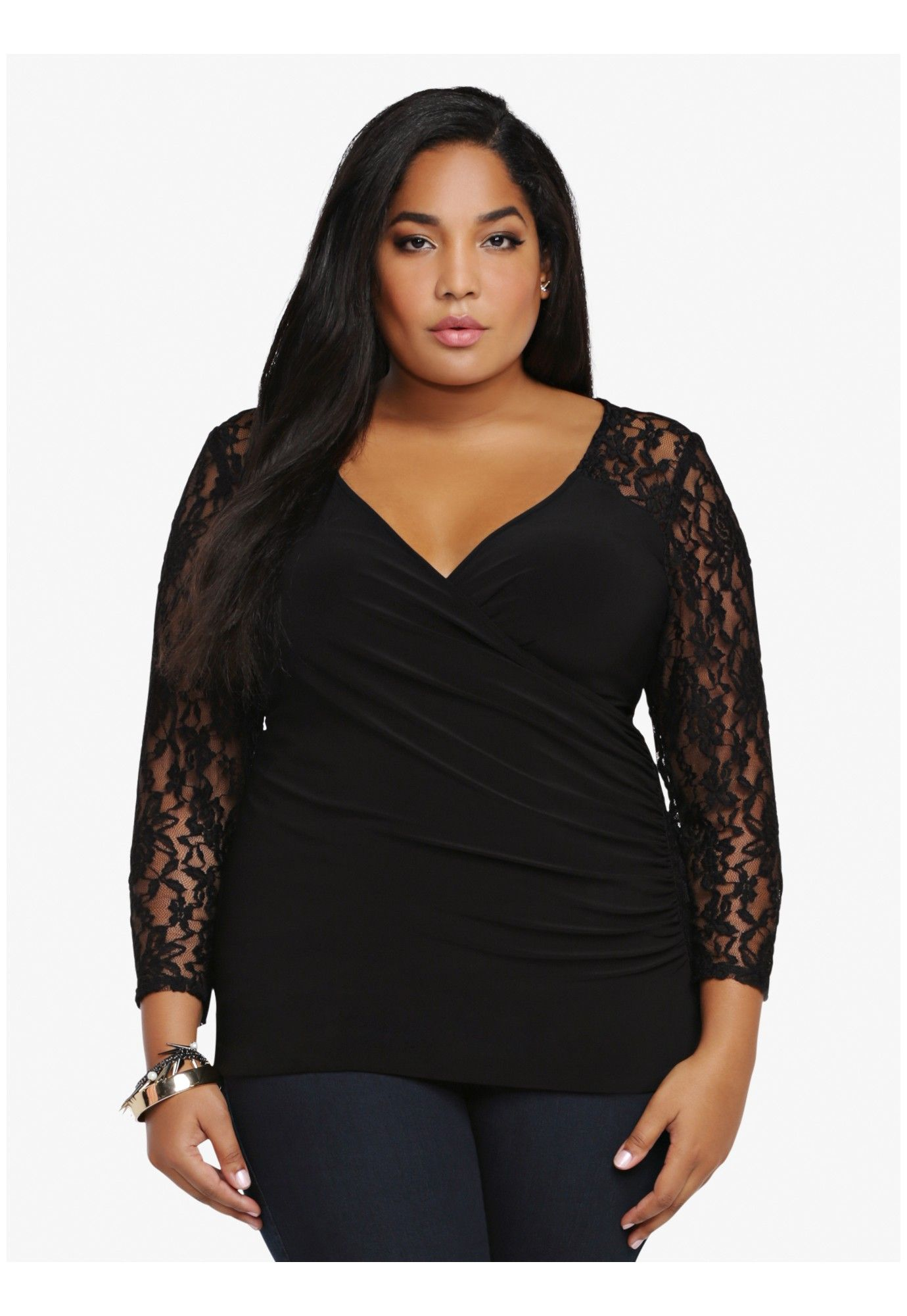 e60b46b6fd930 Look lovely in lace wearing this black plus size long-sleeve top.  tops   lookbook  fashion