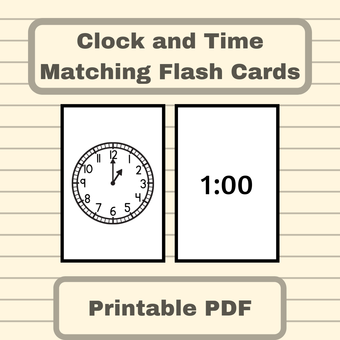 Clock And Time Matching Flash Cards