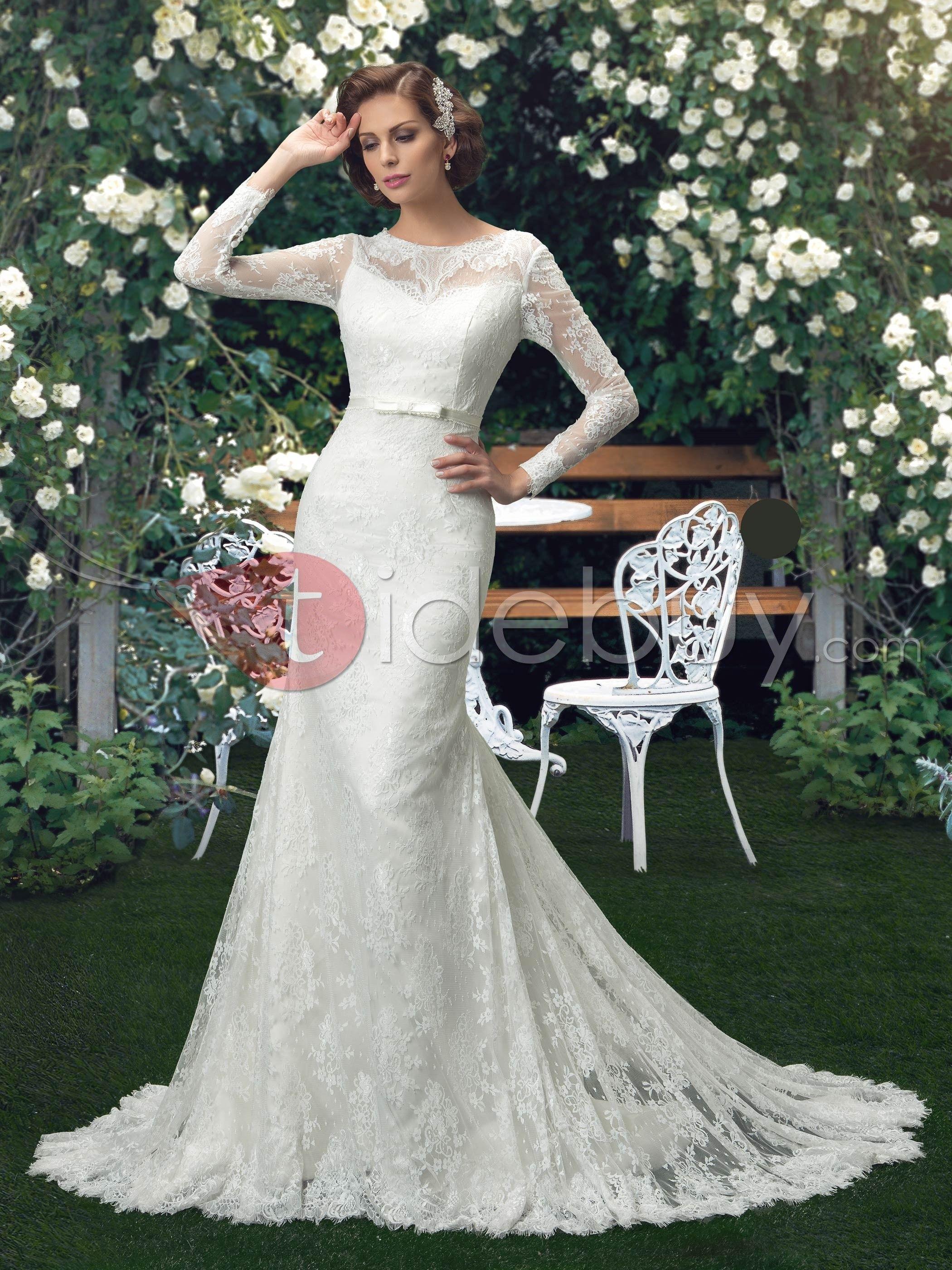Vestido cuello redondo manga larga encaje estilo sirena para novia
