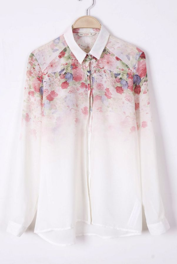 for women: White Long Sleeve Floral Chiffon Blouse