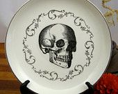 Anatomical Skull Plate Chase and Scout Vintage Gray and Ivory Plate with Victorian Image Gothic Dishes