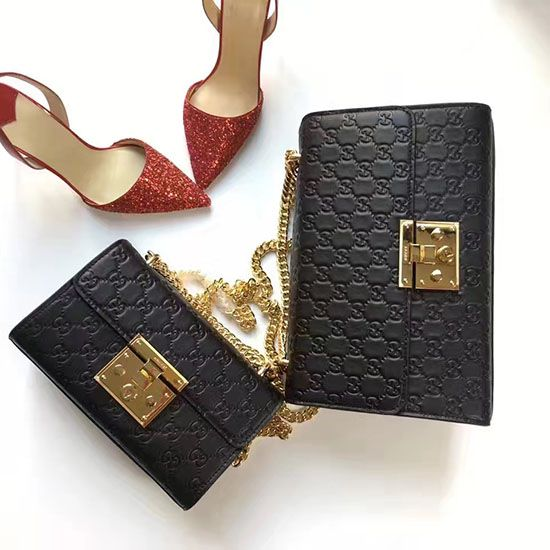 a4c9e4ff55b Padlock Gucci Signature Shoulder Bag Black 409486