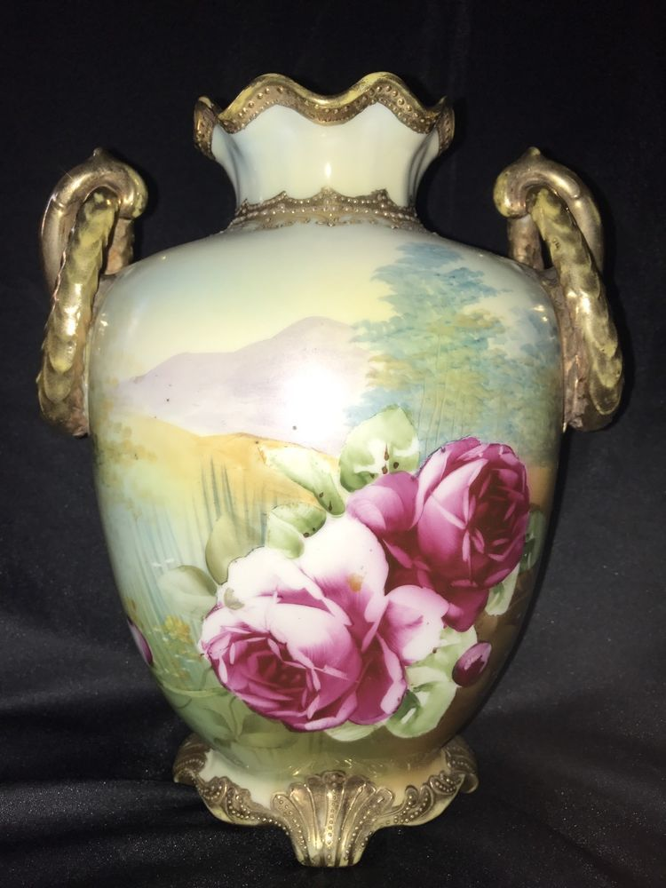 Nippon Morimura Roses Handles Hand Painted Footed Urn Vase 19th