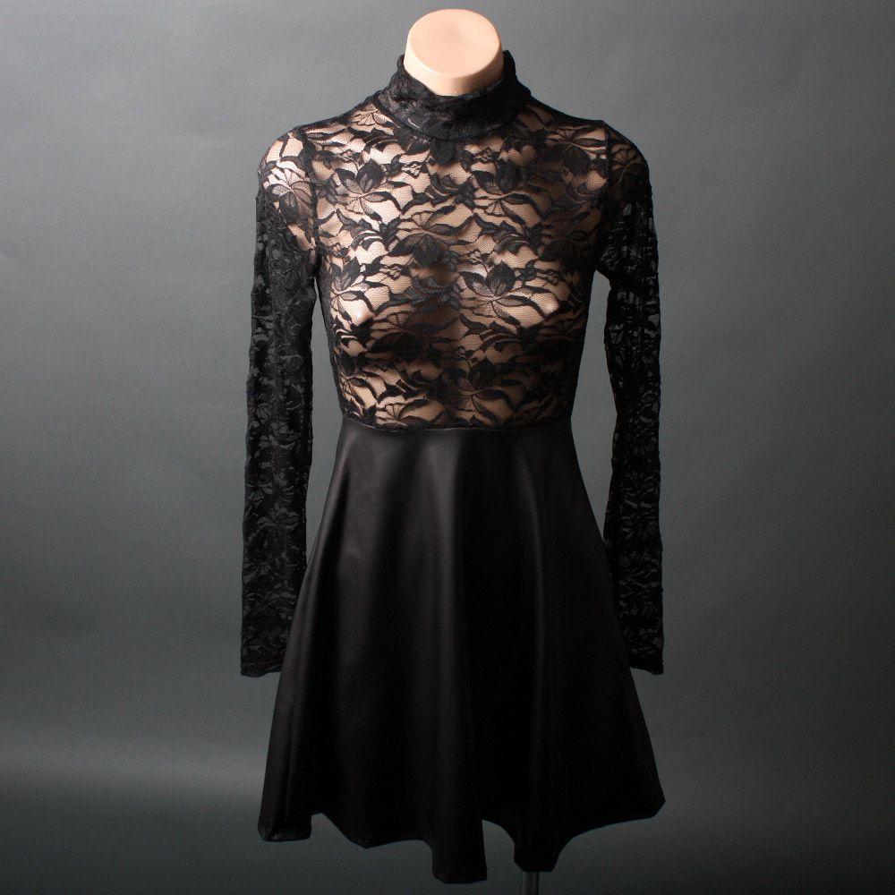 Long sleeve sheer black lace turtleneck faux leather skater dress