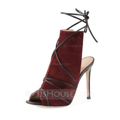 [US$ 94.99] Women's Suede Stiletto Heel Peep Toe Ankle Boots With Braided Strap shoes