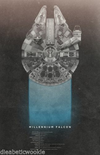 Details about Star Wars New Hope Millennium Falcon Han Solo Chewbacca art print movie poster