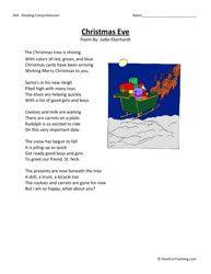 third grade reading comprehension worksheet christmas eve christmas reading comprehension. Black Bedroom Furniture Sets. Home Design Ideas