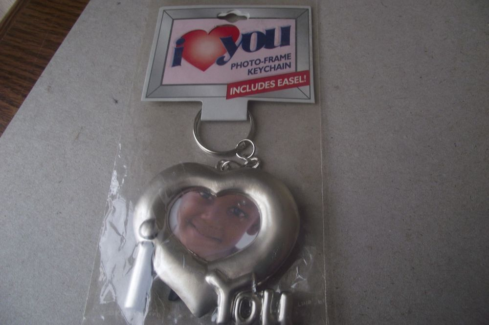 Photo Frame Keychain With Easel I Love You I Heart You Add Your Own Photos Keys