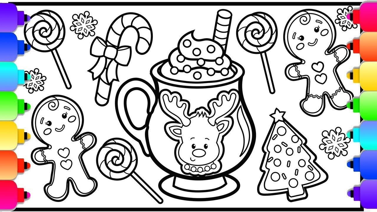 How To Draw Hot Chocolate Christmas Cookies And Candy For Kids Christ Christmas Coloring Pages Christmas Cookies Kids Kids Christmas Coloring Pages